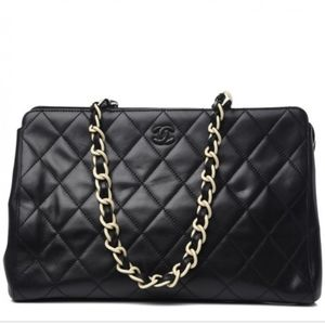 Chanel Black Quilted Lambskin Bekko Chain tote
